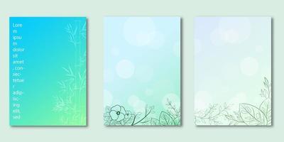 ensemble de couverture dégradé bleu design botanique