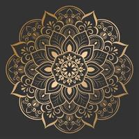 beau mandala de fleur d'or sur fond noir vecteur