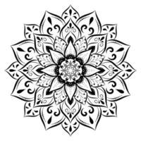 mandala noir avec style floral vintage vecteur