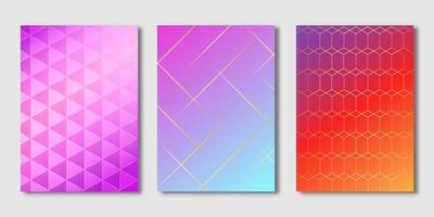 couvertures dégradées de lignes dorées et de formes géométriques vecteur