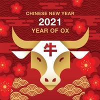 bannière carrée du nouvel an chinois 2021 avec tête de bœuf vecteur