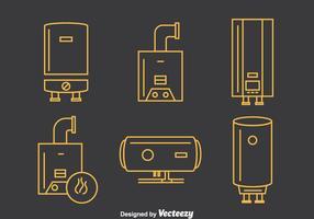 Vecteur d'icônes de ligne de chaudière
