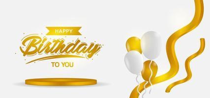 conception de joyeux anniversaire avec texte sur plate-forme et ballons vecteur
