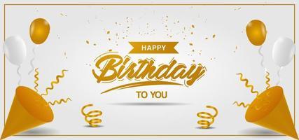 bannière d'anniversaire avec des ballons dorés et blancs et des confettis