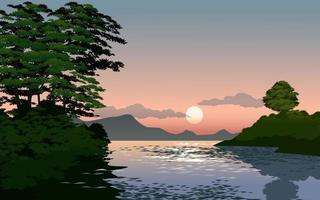 paysage coucher de soleil rivière vecteur
