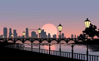 paysage coucher de soleil ville vecteur