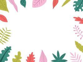 cadre dessiné à la main avec des feuilles exotiques vecteur