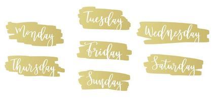 emblèmes manuscrits des jours de la semaine vecteur
