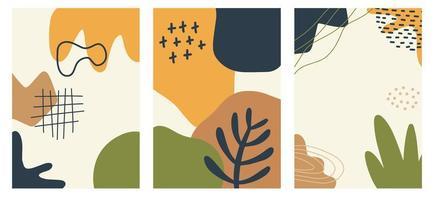 affiches de formes abstraites et de griffonnages à la mode dessinés à la main