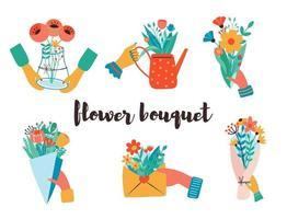 mains tenant des bouquets de fleurs dans différents articles