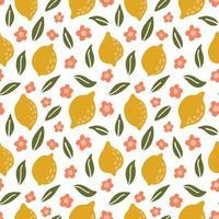 modèle sans couture de citron dessiné à la main