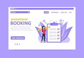 page de destination de réservation de rendez-vous aux tons violets vecteur