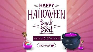 bannière de remise rose halloween avec pot et potion de sorcière vecteur