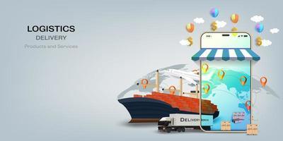 concept de service de livraison en ligne logistique vecteur