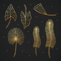 ensemble de doodle de feuilles de plantes dorées