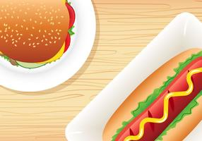 Burger et Hotdog vecteur