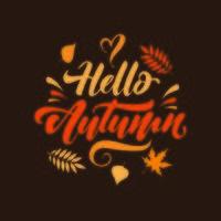 bonjour l'automne avec les feuilles d'automne vecteur
