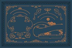 ensemble de bordures vectorielles vintage et éléments de conception