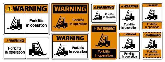 Chariots élévateurs d'avertissement en signe de symbole de fonctionnement vecteur