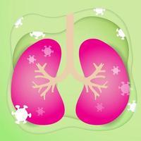 poumon et avec la conception de dessin animé de cellules germinales de coronavirus