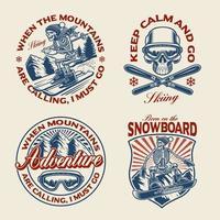 ensemble de badges sur le thème des sports d'hiver vecteur