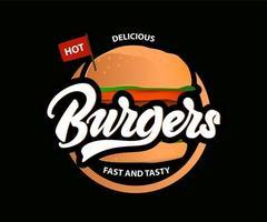 délicieux hamburgers chauds avec lettrage