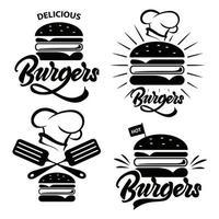 insigne de hamburger serti de lettrage. vecteur