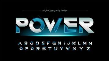 typographie bleue futuriste vecteur