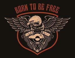 un aigle américain sur un moteur de moto.