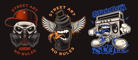 ensemble de personnages de graffitis vecteur