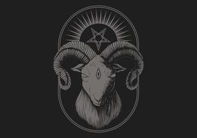 étoile de pentagramme de chèvre satanique vecteur
