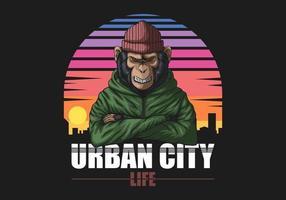 Cercle coucher de soleil singe urbain en colère
