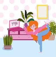 jeune fille dans la chambre avec ordinateur portable pratiquant le yoga
