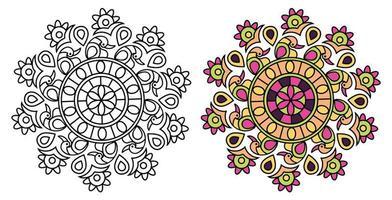 Page de coloriage de conception de mandala de style paon vecteur