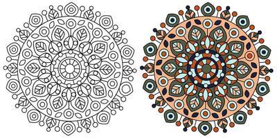 modèle de page de coloriage de conception de mandala moderne vecteur