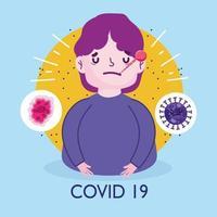 affiche de la pandémie du virus covid 19 avec un jeune homme malade