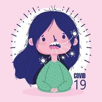 pandémie de covid 19 avec la toux de fille de dessin animé vecteur
