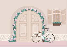 Vector Belle illustration de vélo à la porte