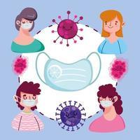conception de la pandémie covid 19 avec des jeunes portant des masques de protection