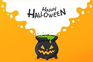Chaudron d'halloween avec visage de jack-o-lantern vecteur