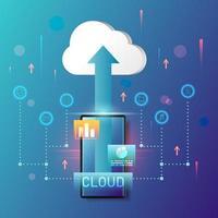 technologie de cloud computing sur smartphone vecteur