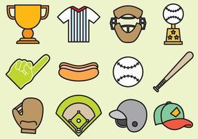 Icônes mignonnes de baseball vecteur