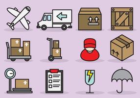 Des icônes de livraison internationales mignonnes vecteur
