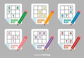 Icônes de vecteur plat de Sudoku
