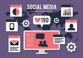 Carte du monde vecteur des médias sociaux
