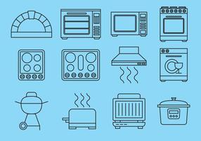 Icônes des éléments de cuisine vecteur