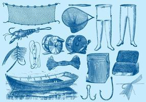 Outils de pêche vintage vecteur