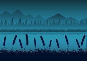 Nuit gratuite Paysage des rivières avec roseaux Silhouttes Vector