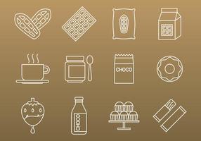 Icônes de cacao et de chocolat vecteur