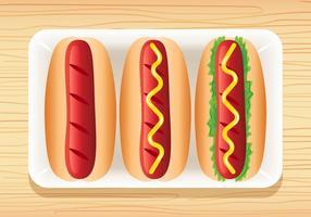 3 vecteurs HotDog délicieux vecteur